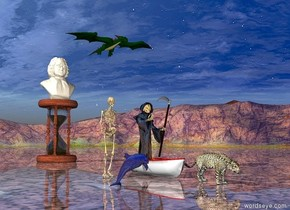 shiny grim reaper is in the boat. There is a big cat in front of boat. The ground is shiny. small dragon is behind and 10 feet above the boat.   skeleton is 2 feet left of the boat.  the very huge hourglass is 15 feet behind the boat.  a 6 feet tall bust is on the hourglass.   small shiny dark blue dolphin is 5 feet left of the big cat.