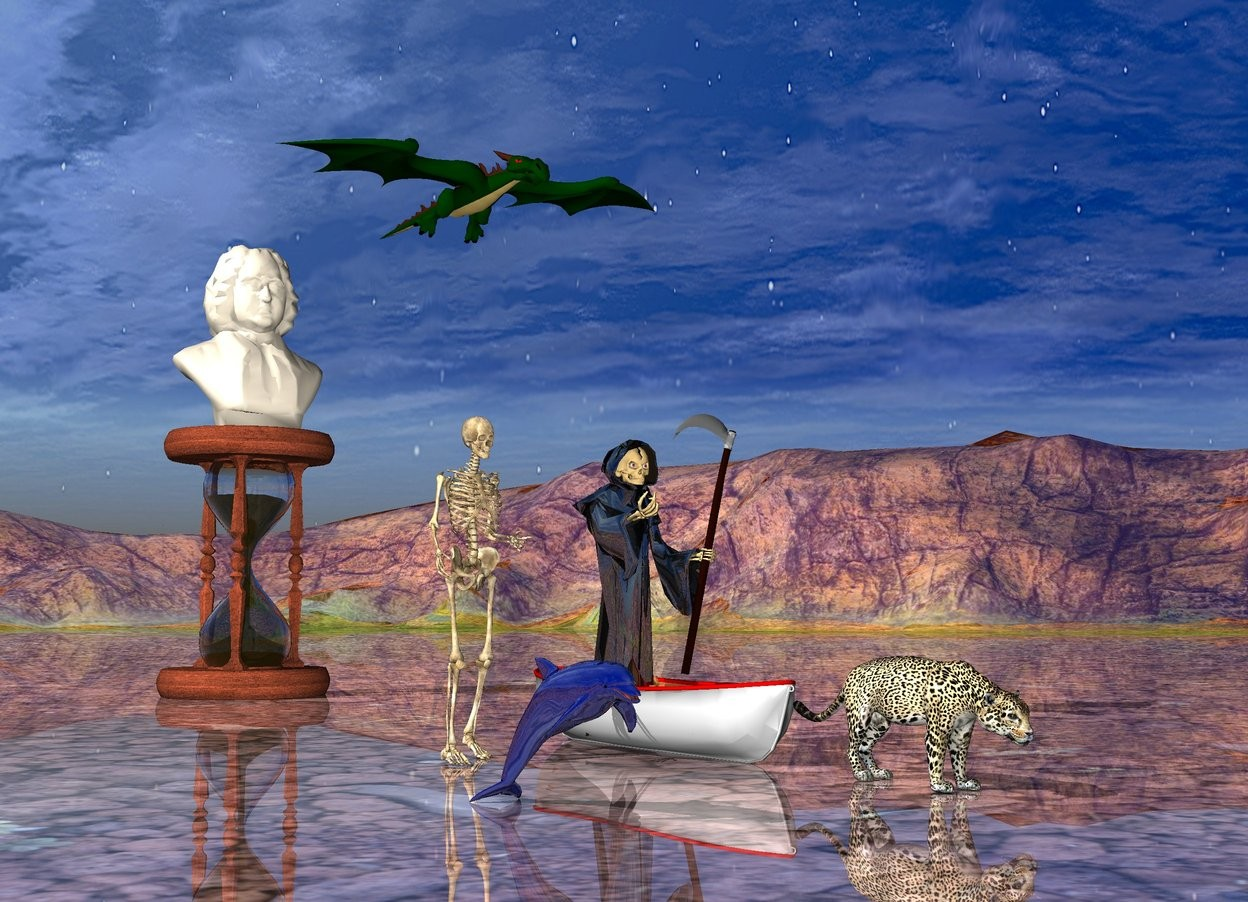 Input text: shiny grim reaper is in the boat. There is a big cat in front of boat. The ground is shiny. small dragon is behind and 10 feet above the boat.   skeleton is 2 feet left of the boat.  the very huge hourglass is 15 feet behind the boat.  a 6 feet tall bust is on the hourglass.   small shiny dark blue dolphin is 5 feet left of the big cat.