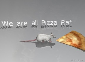 "the rat is in front of the pizza. it is facing the pizza.  the very tiny ""We are all Pizza Rat"" is next to the rat. it is facing the rat. it is 12 inches away from the rat."