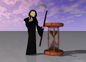 death is next to the huge hourglass.
