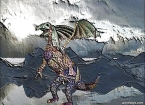 The large sea dragon is in the air. A large vibrant platypus is on top of the dragon. The translucent ground is art.