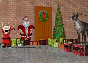 the ground is stone. there is a door. the wreath is 4 feet above the ground in front of the door. the first tree is on the right of the door. santa is to the left of the door. there are 5 gifts in front of santa. there are 6 gifts in front of the tree.there are 10 gifts 3 feet in front of the door. there are 10 gifts 3 feet in front of the door. the very long brick wall is behind the door. the 5 feet tall caribou is 4 feet in front of the tree. the caribou is facing santa. there are 10 gifts left of caribou.the elf is 5 feet in front and .2 feet left of santa. the brick wall is very tall.