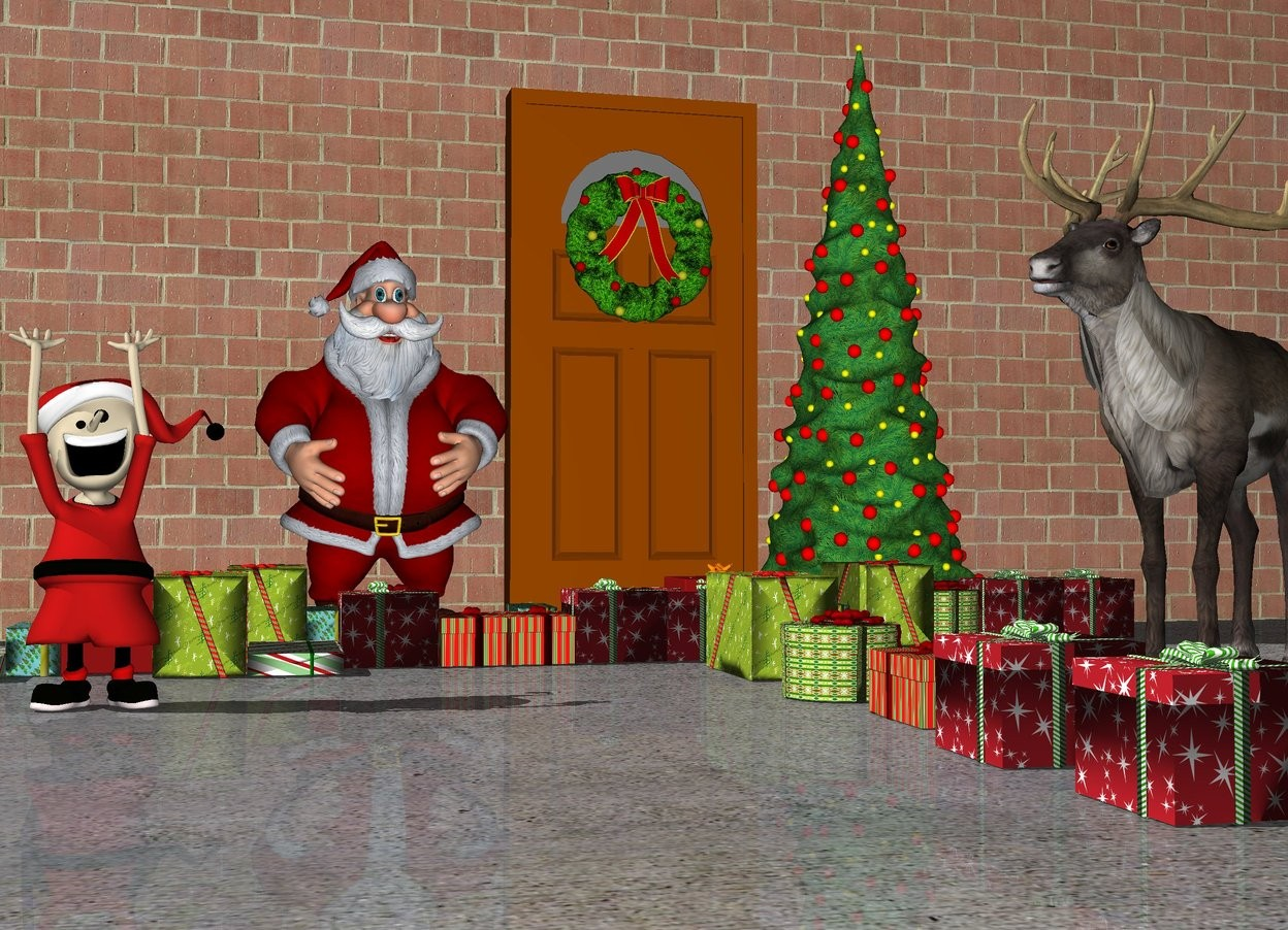 Input text:  the ground is stone. there is a door. the wreath is 4 feet above the ground in front of the door. the first tree is on the right of the door. santa is to the left of the door. there are 5 gifts in front of santa. there are 6 gifts in front of the tree.there are 10 gifts 3 feet in front of the door. there are 10 gifts 3 feet in front of the door. the very long brick wall is behind the door. the 5 feet tall caribou is 4 feet in front of the tree. the caribou is facing santa. there are 10 gifts left of caribou.the elf is 5 feet in front and .2 feet left of santa. the brick wall is very tall.