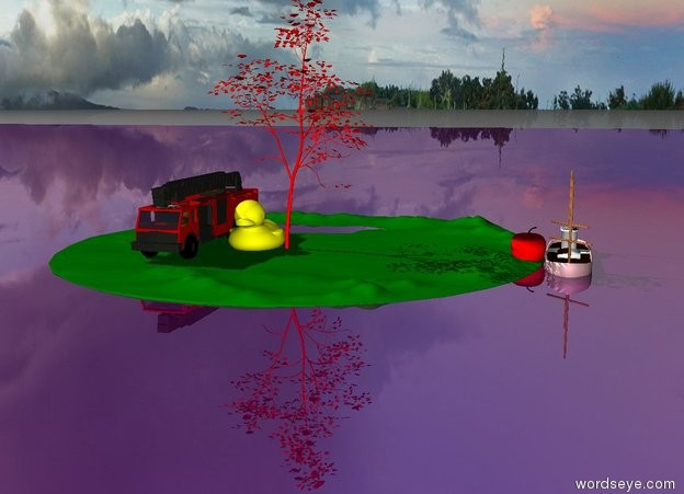 Input text: The island is in the purple sea. The red tree is on the island. The island is green. The enormous yellow duck is next to the tree. The pink boat is in the sea. The sea is shiny. The enormous red apple is next to the boat. The Fire engine is next to the duck.