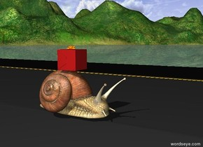 the tiny gift is on the huge snail. the snail is on the long road.