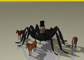 there is a head on a 1.5 foot tall spider. there is a small top hat on the head. there is a 1 foot tall horse south of the spider. there is a 1 foot tall horse east of the spider. there is a 1 foot tall horse north of the spider. there is a 1 foot tall horse west of the spider. the sky is fire.
