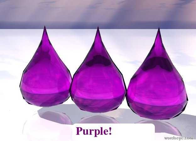 Input text: Three big purple drops. White shiny ground.
