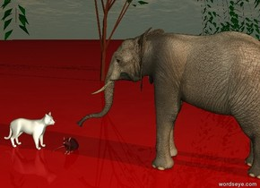 it is dawn. the ground is red. There is a white cat. right of the cat is a big brown mouse. The cat is facing to the mouse. Right of the mouse is an elephant. The elephant is facing to the mouse. Behind the mouse is a tree.