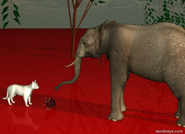 Input text: it is dawn. the ground is red. There is a white cat. right of the cat is a big brown mouse. The cat is facing to the mouse. Right of the mouse is an elephant. The elephant is facing to the mouse. Behind the mouse is a tree.