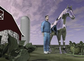 the man is next to the silver horse. the barn is 40 feet behind the man. the grass ground. the large watermelon is -6 feet in front of the horse. the cauliflower is 3.4 feet in front of and 3.5 feet to the left of the man. it is 2.4 feet tall.