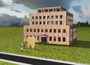 the humongous molar is twenty feet in front of the brick building. the tooth is 10 feet tall and 8 feet wide. the ground is grass. there is a road twenty feet in front of the molar. it is facing left. it is 500 feet long. two people are ten feet in front of the molar. they are facing the molar.