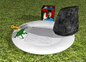 Small rock, big paper and big scissors are on huge white plate. It is morning. Ground is grass. A big lizard is next to the paper. the [spock] cube is behind the plate.  it is 2 inches above the ground.