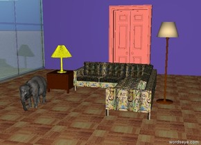 the klee sofa is on the parquet floor. a mauve wall is behind the floor.  the salmon door is in front of the wall.  a transparent window is to the left of the floor. it is facing right. it is thirty feet wide.  a lamp is to the right of the sofa.  a small coffee table is to the left of the sofa. it is 8 feet in front of the wall. it is 1.5  feet tall. a yellow lamp is on the coffee table.  a tiny elephant is two feet in front of the coffee table.  the ground is stone.