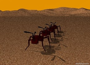 the ground is sand. the sky is orange.  a humongous  ant is on the ground. a humongous ant is in front of the ant. another humongous ant is in front of the ant. another humongous ant is in front of the ant.