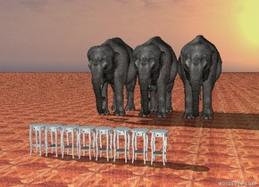 the eight tables are ten feet in front of the three elephants. the ground is parquet.