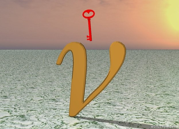 Input text: the huge red key is above the brass symbol. the key is leaning 85 degrees to the left.  the ground is stone.