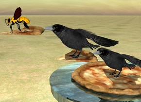 the pizza is on  a  shiny wood table.the crow is on the pizza. the second pizza in front of the crow. the second pizza is 7 inches above  the table. the second crow is on the second pizza. the third pizza is in front of the second crow. the third pizza is 3.2 feet above the ground. the ground is grass.  the huge bee is on the third pizza.