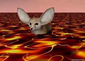 The fox is in a sea of lava