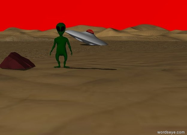 Input text: An alien is in the desert. The sky is red. An UFO is 60 feet away behind the alien. The UFO is leaning left. The UFO is 3 feet in the desert. A rock is 2 feet to the left of the alien. The rock is brown.
