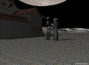Moon sky. Rocky ground.   The dark tombstone.  Rusty lantern 1 feet above the tombstone.   Dark castle is 10 feet behind the tombstone.   Dark grey Grim reaper stands in front of tombstone. Grim reaper is facing tombstone.