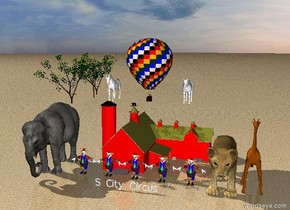 "Five large clowns are in front of a red barn.The ground is sand . A large ""S City Circus"" is fifteen feet in front of the barn. A very large elephant is one foot to the left of the clowns.  A gigantic lion is one foot to the right of the clowns.   A large giraffe is one foot to the right of the lion. A hot air balloon is one foot above the barn. The sky is cloudy. A large white horse is five feet to the left of the balloon. A large white horse is five feet to the right of the balloon.  Three fruit trees are ten feet to the left of the hot air balloon.  Three fruit trees are ten feet to the right of the hot air balloon."