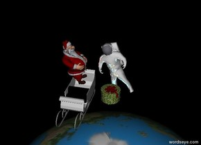 the reflective leaning astronaut is 8 feet above the humongous earth. it is night. the ground is black. santa is next to the astronaut. he is leaning back. he is facing the astronaut. the big gift is in front of the astronaut.  the sleigh is below santa.