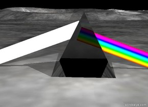 the huge transparent pyramid. the rainbow plank is -2.5 feet to the left of the pyramid. it is facing up. it is -3.5 feet above the ground. it is very long. it is leaning right. the extremely  white plank is -2 feet to the right of the pyramid. it is extremely narrow. it is facing up. it is leaning left. it is very long. it is -3 feet above the ground.  the bright white light is 1 feet behind the pyramid. it is 3 feet above the ground.the sky is black.