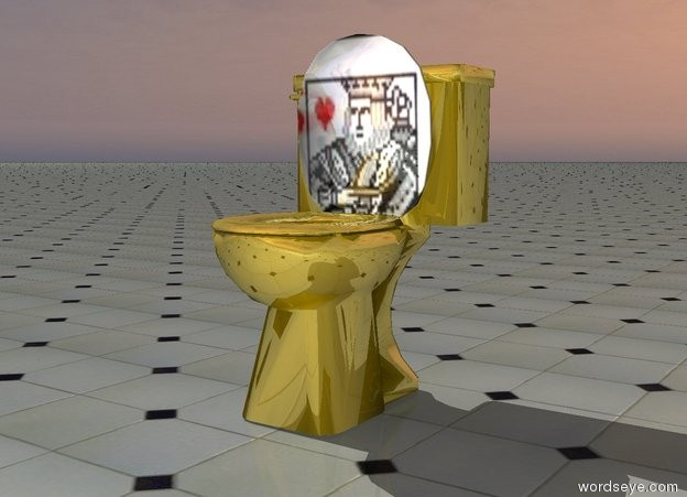 Input text: gold toilet on the tile ground. the lid of the toilet is king.