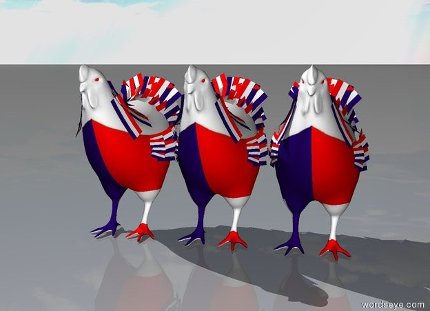 Input text: three french chickens.