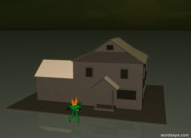 Input text:  green grill on ground.  Fire in grill.   pale brown House behind grill.  The roof of the house is red.  ground is  light grey.  It is evening.