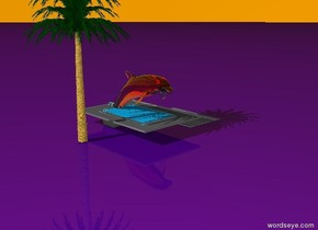 The ground is indigo. the pool is one foot away from the grey road. The pink very large transparent dolphin is in the pool. the sky is transparent orange. The palm tree is to the left of the dolphin.
