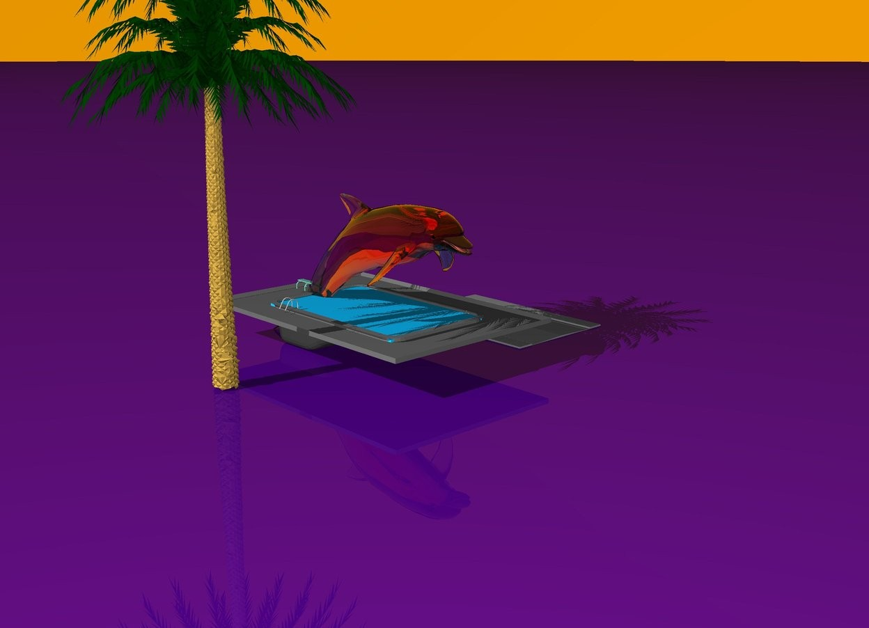 Input text: The ground is indigo. the pool is one foot away from the grey road. The pink very large transparent dolphin is in the pool. the sky is transparent orange. The palm tree is to the left of the dolphin.