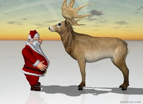 Santa is facing a reindeer. The reindeer is facing away from santa. The ground is snow