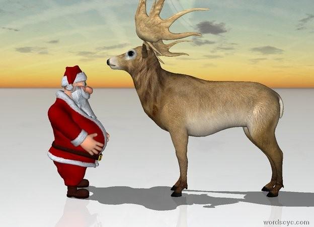 Input text: Santa is facing a reindeer. The reindeer is facing away from santa. The ground is snow