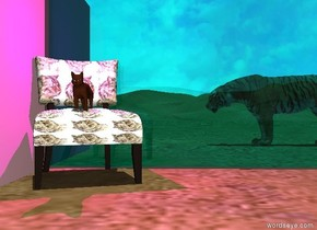 the cat is on the [cat] chair.  it is noon.  A large tiger is 10 feet behind and three feet right of the chair.  it is facing left. A transparent cyan wall  is behind the chair.  a magenta light is above the chair. a pink wall is facing right. it is left of the chair.