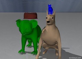 The small blue cat is on top of the dog.  The green koala is right behind the dog . The cupcake is on top of the koala
