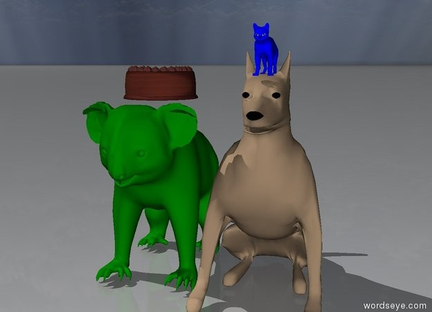 Input text: The small blue cat is on top of the dog.  The green koala is right behind the dog . The cupcake is on top of the koala