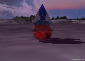 There is a transparent red skull. There is a transparent sphere in front of the skull. There is a transparent blue skull above the red skull. There is a transparent pyramid in front of the transparent blue skull. The ambient light is purple.