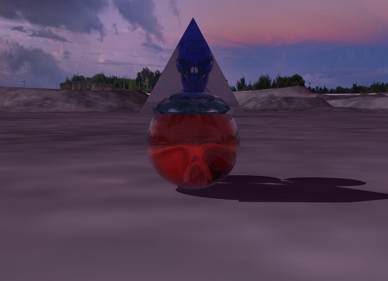 Input text: There is a transparent red skull. There is a transparent sphere in front of the skull. There is a transparent blue skull above the red skull. There is a transparent pyramid in front of the transparent blue skull. The ambient light is purple.