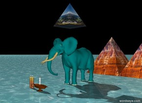 The elephant is teal. The huge [grass] pyramid is 2 feet above the elephant. There are 3 huge candles in front of the elephant. The ground is water. The sky is black. There are two enormous [canyon] pyramids 10 feet behind the elephant.