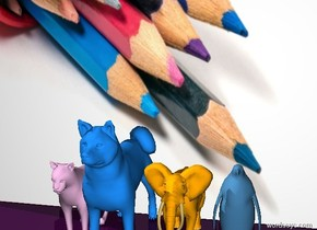 [crayon] is on ground. a 3 inch tall dodger blue dog is on the ground in front of the [crayon]. a 2 inch tall lilac rose cat is in front of the [crayon] next to the dog. a 2 inch tall orange elephant is on the ground on the  right  side of  dog. the ground is purple. a 2 inch tall  pond blue bird is next to the elephant on the right.