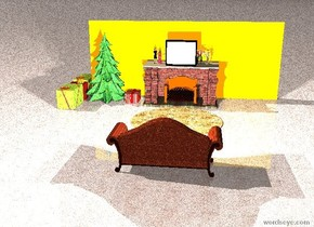 A Christmas tree next to a fireplace. The Christmas tree is 7 foot tall. The fireplace is 4 foot tall. The fireplace is brick. There are 8 tiny people on top of the fireplace. There are 4 large presents next to the Christmas tree. 1 large present is to the right of the Christmas tree. The Christmas tree is 2 foot away from the fireplace. The leather sofa is in front of the fireplace. The leather sofa is facing the fireplace. The leather sofa is 12 foot away from the fireplace. There is a fur rug. The fur rug is in front of the fireplace. There is a television above the fireplace. The ground is carpet. There is a light orange wall behind the fireplace. There are 2 lights above the leather sofa.