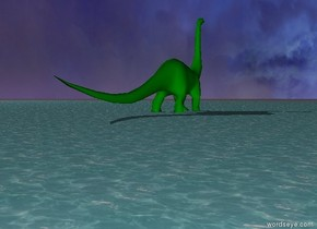 giant green dinosaur  in the ocean.  it is morning
