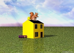 giant squirrel on  tiny house. the ground is made of grass. there are 12 giant magenta mushrooms in front