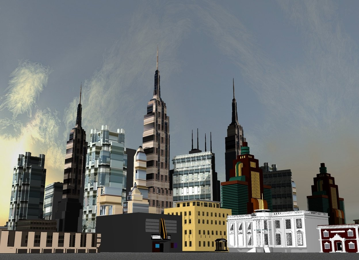 Input text:  There is [building] empire state building. Big [skyscraper] flatiron building is 100 feet in front of empire state building. [house] high rise is 100 feet on the left of empire state building. Another high rise is 100 feet behind empire state building. Big [hrushevka] office building is 100 feet on the left of flatiron building. Small sears tower is 100 feet on the right of empire state building. 3000 feet tall and 10000 feet long silver wall is 300 feet behind empire state building. Another 3000 feet tall and 10000 feet long silver wall is 200 feet on the right of empire state building. It is facing right. Big hotel is 50 feet in front of flatiron building. Huge condominium is 50 feet in front of office building.  Huge movie theater is 50 feet on the left of condominium. Big industrial building is 150 feet on the left of  movie theater. Big white house is 50 feet in front of condominium. It is facing left. Huge bank building is 10 feet in front of white house. It is facing left. Ground is asphalt. Ground is unreflective.