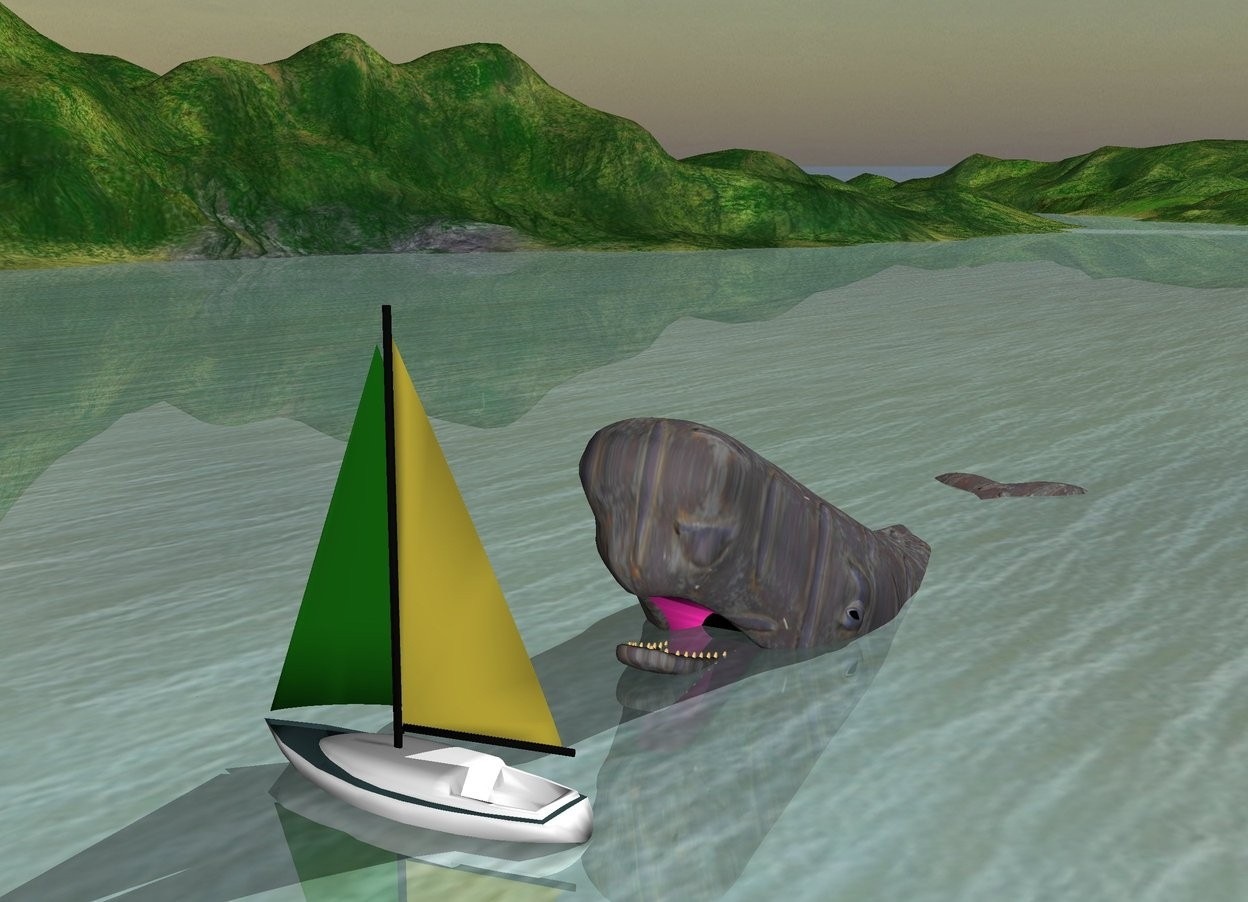 Input text: the boat is 1 feet in the ground. the [gray] whale is  next to the boat.  it is leaning backward. it is facing the boat. it is 5 feet in the ground. it is 6 feet away from the boat.