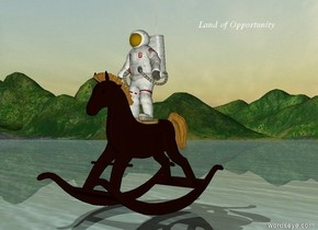 the astronaut is on the giant rocking horse.