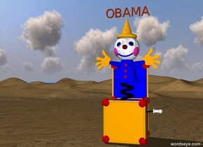 """OBAMA"" is red copper. It is above the gigantic jack in the box."