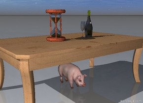 "the champagne bottle is on the table. two glasses are next to the bottle. the small pig is under the table. the hourglass is on the table. it is 12 inches away from the bottle. "" 2015"" is 1 feet behind the table."