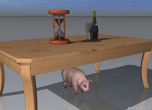 "Input text: the champagne bottle is on the table. two glasses are next to the bottle. the small pig is under the table. the hourglass is on the table. it is 12 inches away from the bottle. "" 2015"" is 1 feet behind the table."